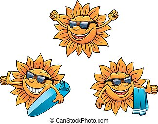 Trendy hip summer sun characters with happy faces wearing...