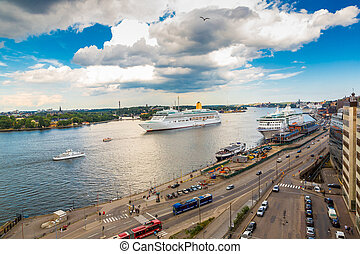 Cruise Ship in Stockholm, - The big Cruise Ship in...