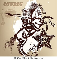 Cowboy or sheriff on a horse shoutting from gun.eps