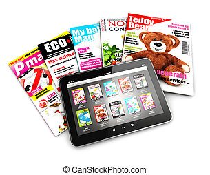 3d stack of magazines and tablet, isolated white background,...