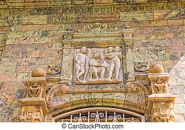 Saadabad Palace relief - Relief above the entrance door of...