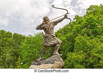 Aresh, el, arquero, estatua,