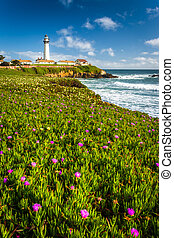 Flowers and view of Piegon Point Lighthouse in Pescadero,...
