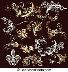 Collection of vector ornaments in gold.eps