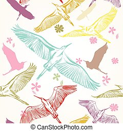 Seamless wallpaper pattern with birds.eps