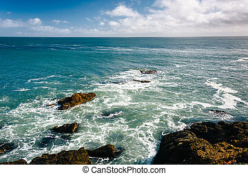 Rocky coast in Pescadero, California
