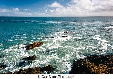 Rocky coast in Pescadero, California.