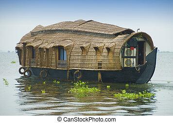 Houseboat on backwaters in Kerala, India