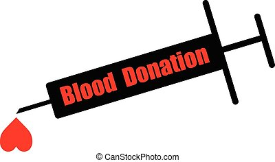 black syringe with word BLOOD DONATION and heart shape blood...