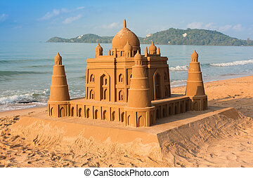 Taj Mahal made of sand on the beach