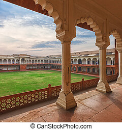 Agra Red fort, India, Uttar Pradesh - Inner coutyard of Agra...
