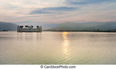 View of Jal Mahal, Jaipur, India - View of Jal Mahal water...