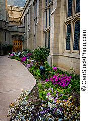 Gardens and church in Pasadena, California.