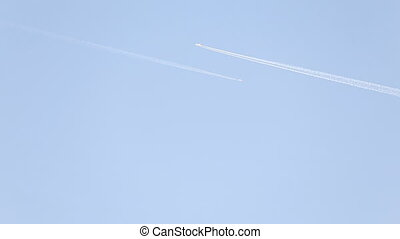 plane is flying on a blue sky - plane is flying on a sky