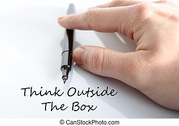 Think outside the box concept - Pen in the hand isolated...