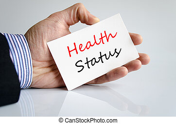 Health Status concept - Business man hand writing Health...