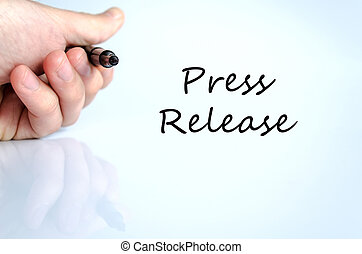 Press release concept - Pen in the hand isolated over white...