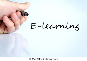 E-learning concept - Pen in the hand isolated over white...