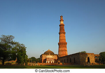 India, Delhi - Qutab Minar - The Qutab Minar in New Delhi,...