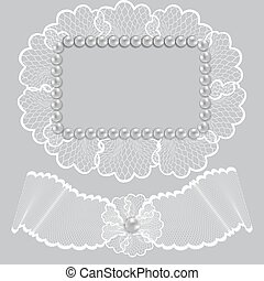 Lace frame decorated with pearls