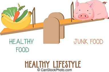 Choosing between vegetable, fruit and meat, healthy...