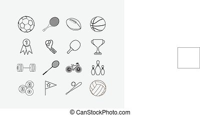 Thin sport icon set
