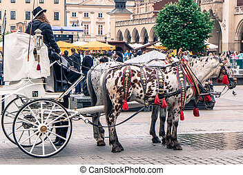 Horse carriage at Krakow, Slovakia - KRAKOW, POLAND - MAY...