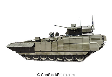 latest Russian infantry fighting vehicle is isolated on a white