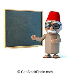 3D, marocain, enseigne, à, les, tableau noir,