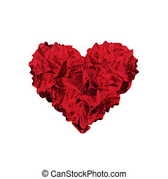 Heart shape made of crumpled papers