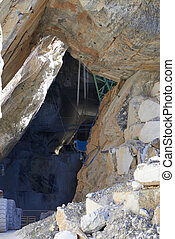 marble quarry - detail of portoro marble quarry in a...