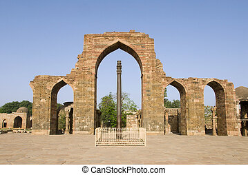 Pillars at Quatab Minar complex - Pillars at Quatab Minar, a...