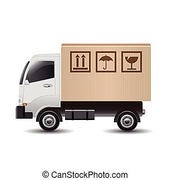 Delivery truck with cardboard box