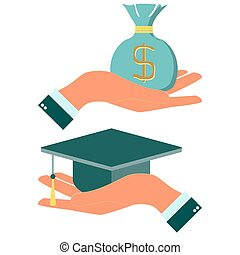 Square academic cap in hands vector icon laurel wreath
