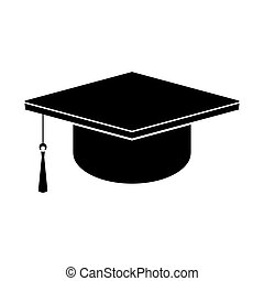 Square academic cap. Black vector icon.