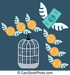 Free money Open cage with flying money Business concept