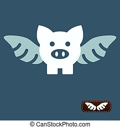 Vector illustration of flying pig, I Want to Believe