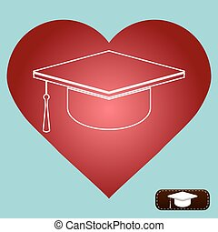 Mortar Board or Graduation Cap, Education love heart