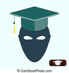 Mask in academic cap. Education concept.