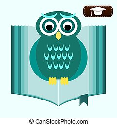 Back to school Wise owl with books and graduate cap...