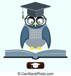 Owl in glasses reading book - Vector