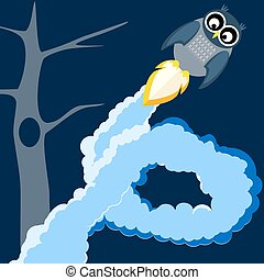 owl in flight - vector illustration