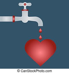 Defeated heart. drop of blood from the tap. romance.