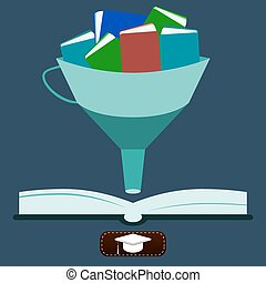 illustration of knowledge, Funnel with books