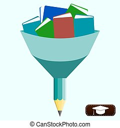 illustration of knowledge, Funnel with books and pencil