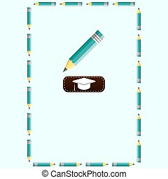 Pencils Frame, multicolor square border, black background, copy space for do it yourself announcements, posters, stationery, scrapbooks, fliers for back to school, home and office.