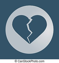 broken heart icon, symbol, vector illustration