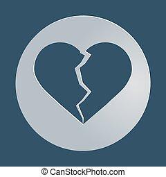 broken heart icon, symbol, vector illustration