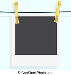 Polaroid photo frame with clothespin isolated on white background. Vector illustration. Realistic. Drying photo.