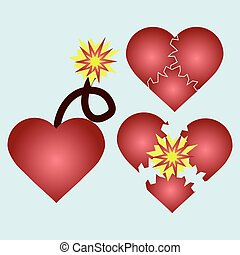 Love cartoon explosion Falling in love Love firework